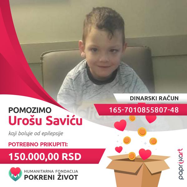 Урошу Савићу потребно 150.000,00 динара за терапију